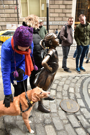 Fearless Girl and Bemused Dog 1