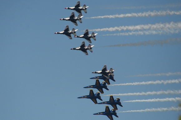 Navy Blue Angels and Air Force Thunderbirds Flyover 1