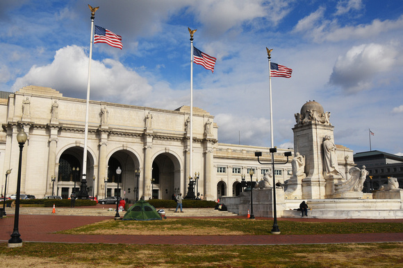 Union Station and Flags 4 - And Homeless Tent