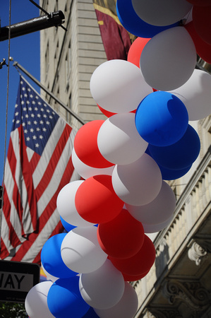 Red White and Blue Balloons and Flag