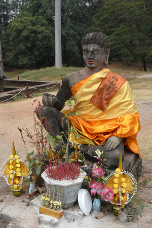 Buddha with Golden Robe and Offerings