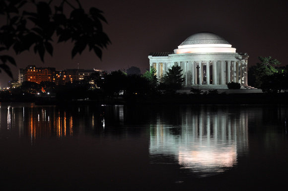Jefferson Memorial and Reflections on Water at Night 3