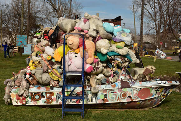 Abandoned Boat Full of Stuffed Animals Piled Together