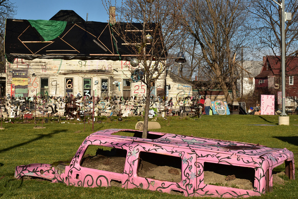 Buried Pink Van and Decorated House 2