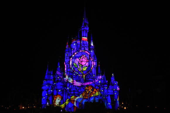 Disney Cinderella Castle Light Show 34 - Beauty and the Beast Stained Glass