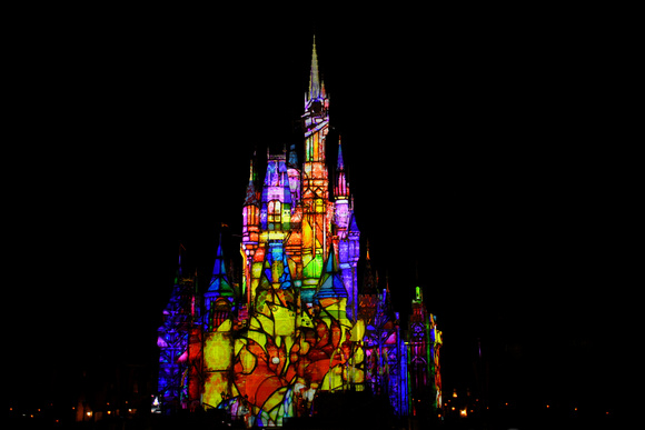 Disney Cinderella Castle Light Show 29 - Stained Glass
