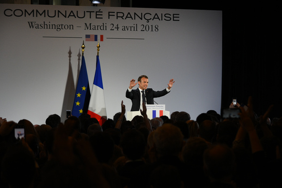 French President Emmanuel Macron Making a Speech 32