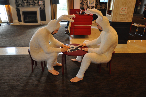 Bearded Men in Bunny Suits in the Lobby 1