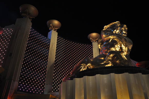 MGM Grand Bronze Lion at Night 02