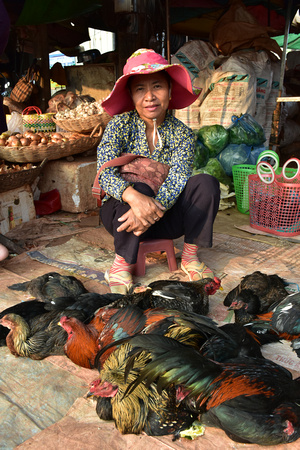 Woman Selling Live Chickens