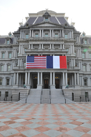 US and French Flags - Eisenhower Executive Building