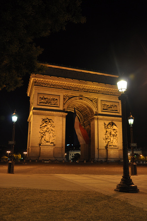 Arc de Triomphe and Three Lamp Posts
